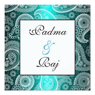 Shimmer Aqua and White Paisley Wedding Invitation