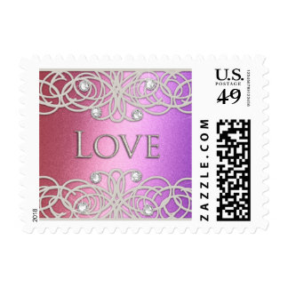 Shimmer Color with Lace Postage Stamp