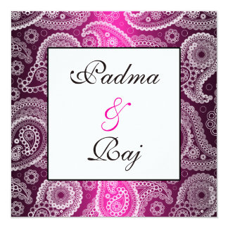 """Shimmer Pink and White Paisley Wedding Invitation 5.25"""" Square Invitation Card"""