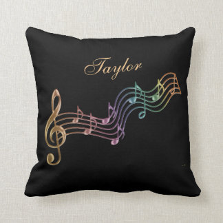 Shimmer Rainbow Personalized Musical Notes Pillow