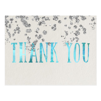 Shimmer Sea Blue and Faux Silver Sequins Postcard