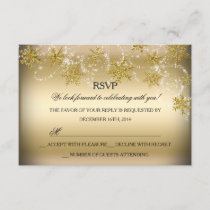 Shimmer Snowflake Gold Christmas Holiday RSVP