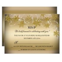Shimmer Snowflake Gold Christmas Holiday RSVP Invitation