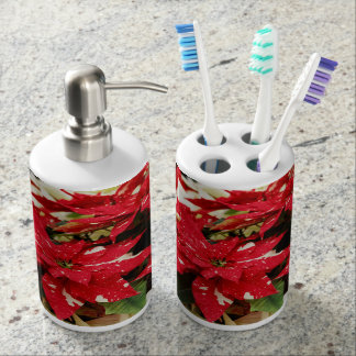 Shimmer Surprise Poinsettias Soap Dispenser And Toothbrush Holder