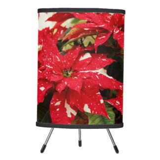 Shimmer Surprise Poinsettias Tripod Lamp