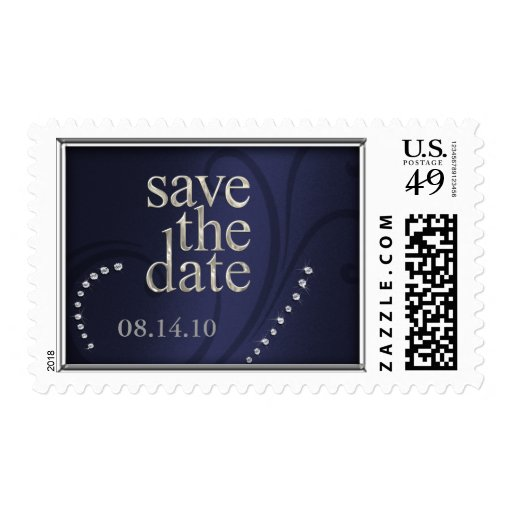 Shimmer Swirl Save the Date Crystals Indigo Postage Stamp