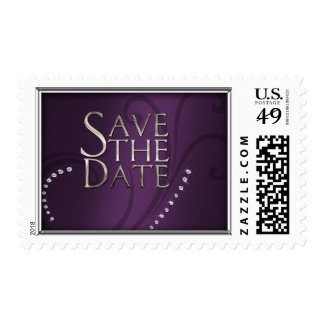 Shimmer Swirl Save the Date Crystals Purple Postage Stamp