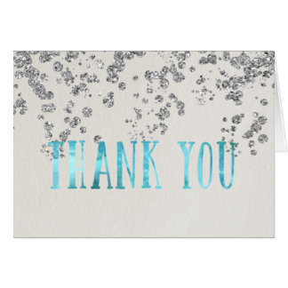 SHIMMER TURQUOISE and Faux Silver Thank You Card