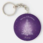 Shimmering Amethyst Christmas Tree Keychain