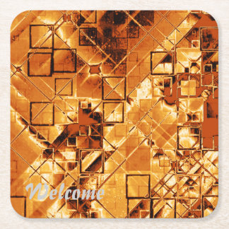 shimmering and gleaming,golden square paper coaster