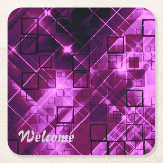 shimmering and gleaming,pink square paper coaster