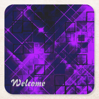 shimmering and gleaming purple square paper coaster