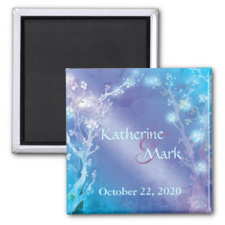 Shimmering Blue Artsy Wedding Save the Date 2 Inch Square Magnet