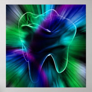 Shimmering Blue Tooth Dentist Orthodontist Poster
