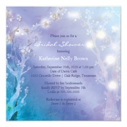 Shimmering Blues Unique Bridal Shower Invitations 5.25