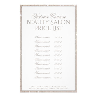 Shimmering Border Beauty Salon Price List Flyer