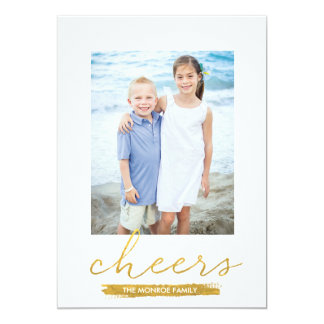 Shimmering Cheers Faux Gold Foil Holiday Card Custom Invite