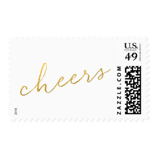 Shimmering Cheers Gold Faux Foil Postage