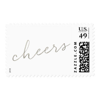 Shimmering Cheers Silver Faux Foil Postage