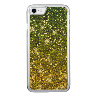 Shimmering Dark Green Gold Glitters Carved iPhone 7 Case