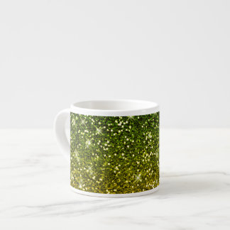 Shimmering Dark Green Gold Glitters Espresso Cup