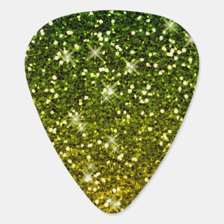 Shimmering Dark Green Gold Glitters Guitar Pick