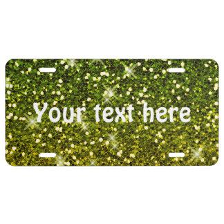 Shimmering Dark Green Gold Glitters License Plate
