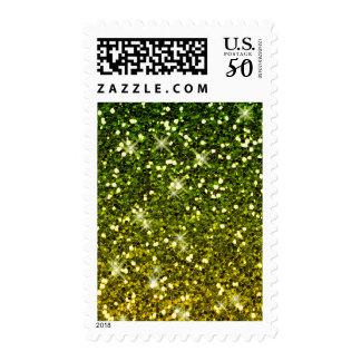 Shimmering Dark Green Gold Glitters Postage