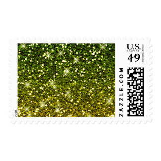 Shimmering Dark Green Gold Glitters Postage Stamp
