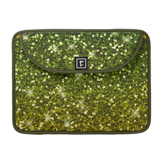 Shimmering Dark Green Gold Glitters Sleeve For MacBook Pro