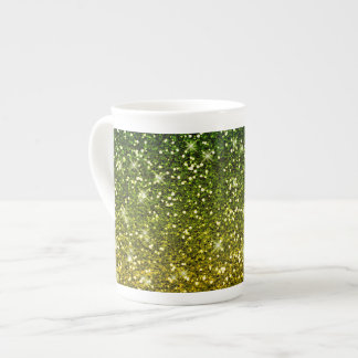 Shimmering Dark Green Gold Glitters Tea Cup