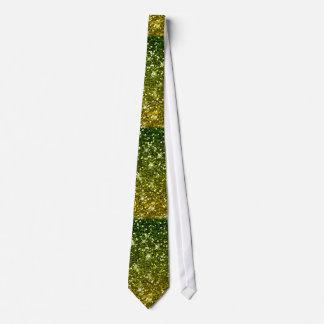 Shimmering Dark Green Gold Glitters Tie