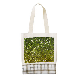 Shimmering Dark Green Gold Glitters Zazzle HEART Tote Bag