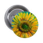 Shimmering Fine Art Sunflower Pinback Buttons