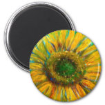 Shimmering Fine Art Sunflower Refrigerator Magnets