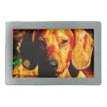 Shimmering Glowing Dachshund Face Closeup Belt Buckles