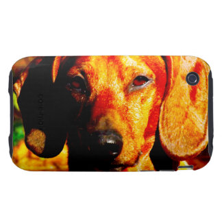 Shimmering Glowing Dachshund Face Closeup Tough iPhone 3 Cover