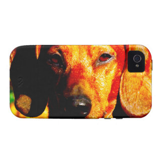 Shimmering Glowing Dachshund Face Closeup Vibe iPhone 4 Case