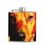 Shimmering Glowing Dachshund Face Closeup Hip Flask