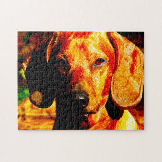 Shimmering Glowing Dachshund Face Closeup Jigsaw Puzzle