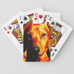 Shimmering Glowing Dachshund Face Closeup Poker Cards
