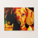Shimmering Glowing Dachshund Face Closeup Puzzles