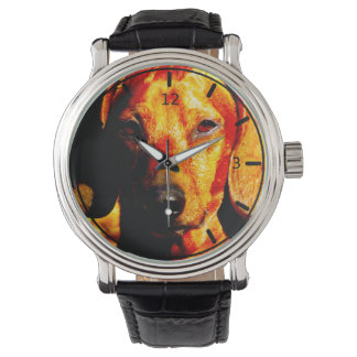 Shimmering Glowing Dachshund Face Closeup Wristwatch
