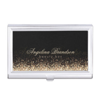 Shimmering Gold Beauty Expert Damask Black Holder Business Card Case
