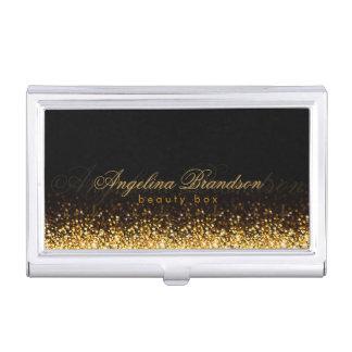 Shimmering Gold Beauty Expert Damask Black Holder Case For Business Cards