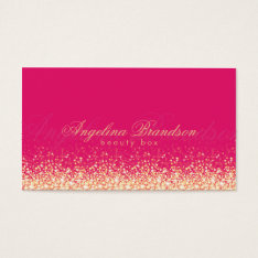 Shimmering Gold Beauty Expert Damask Pink Card at Zazzle