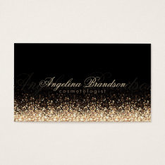 Shimmering Gold Cosmetologist Damask Black Card at Zazzle