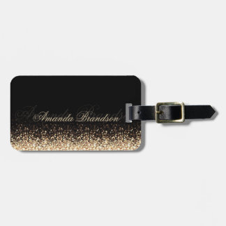 Shimmering Gold Glitter Stylish Black Luggage Tag