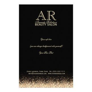 Shimmering Gold Star Design Black Price List Flyer