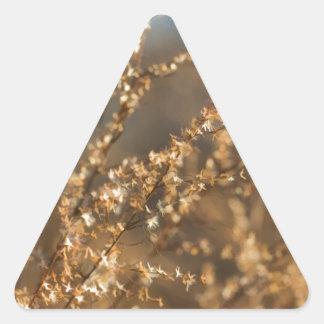 Shimmering Golden Prairie Grass Triangle Sticker